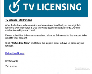 Watch out for Fake TV Licensing emails